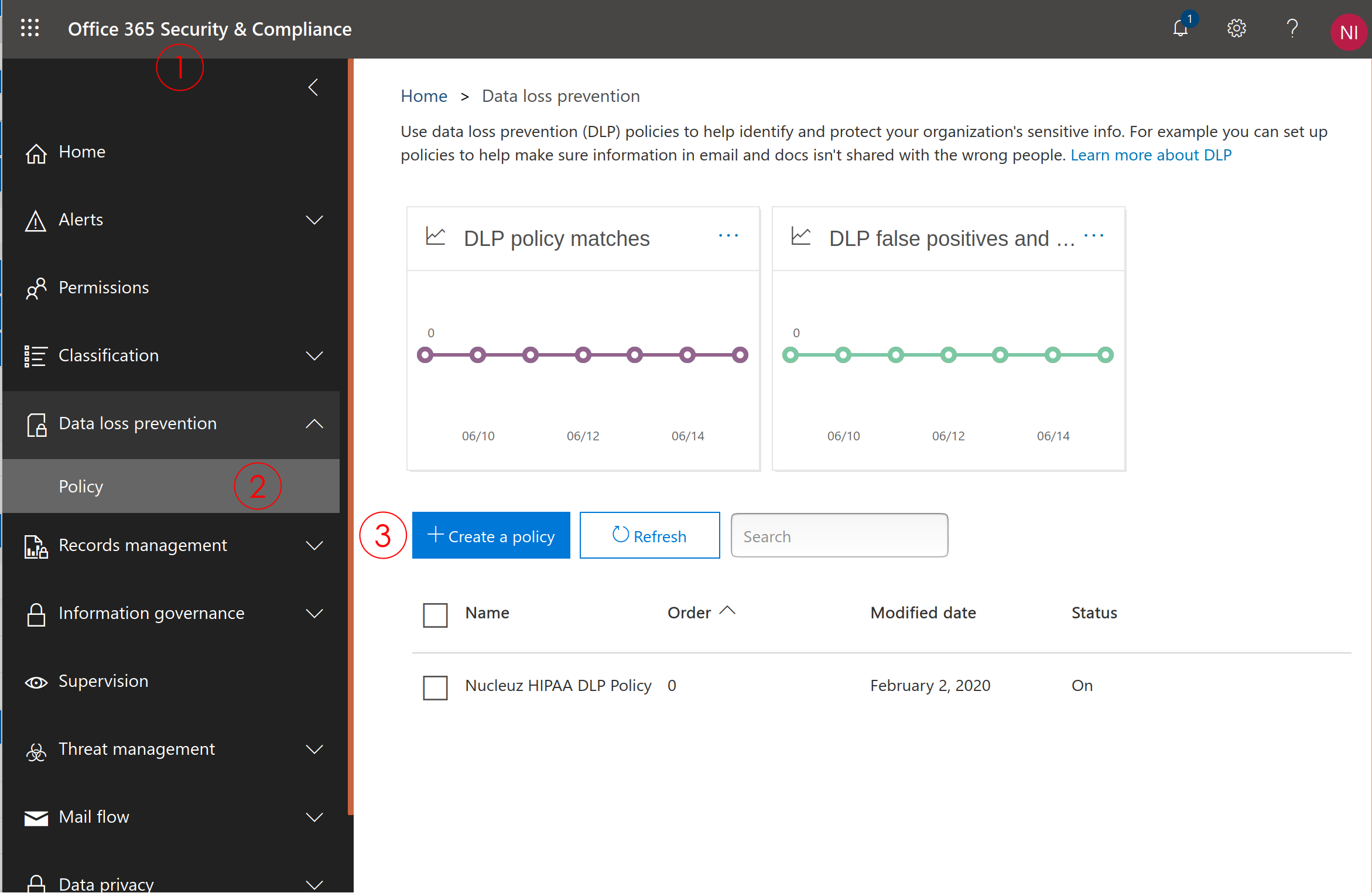 Screenshot of Office 365 Security & Compliance Center