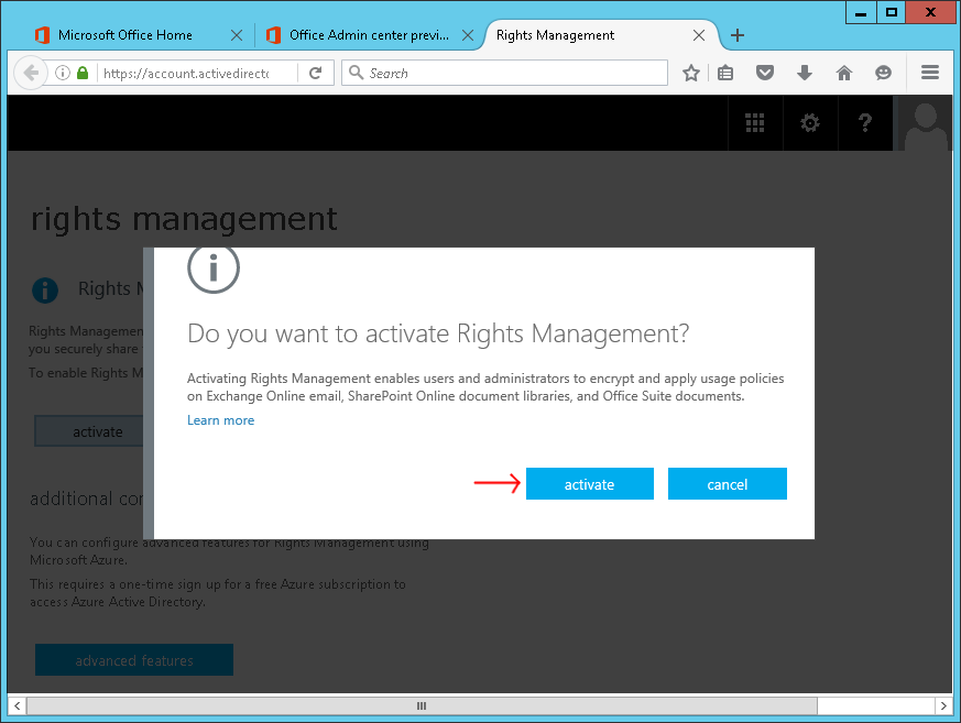 Screenshot of activating Azure Rights Management