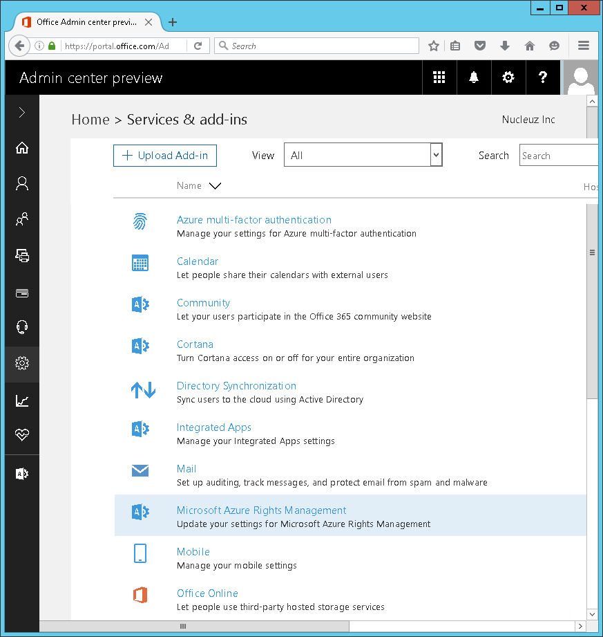 Screenshot of accessing Microsoft Azure Rights Management