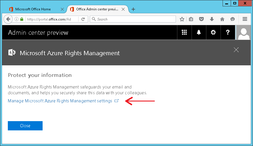 Screenshot of accessing O365 Admin