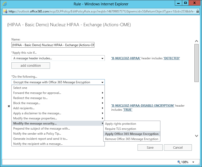 Screenshot of DLP Rule Configured To Apply Office Message Encryption